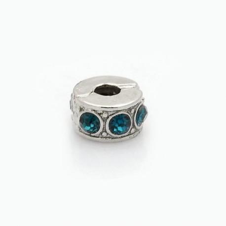 Métal perle bracelet pince strass turquoise style Pandora - à l'unit