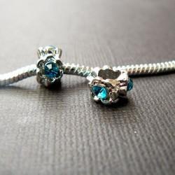 Métal Anneau strass turquoise foncé style Pandora - à l'unité