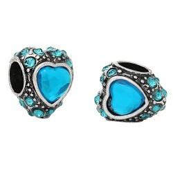 Métal Coeur gros strass turquoise style Pandora - à l'unité