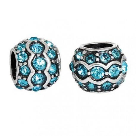Métal Anneau double strass turquoise style Pandora - à l'unité