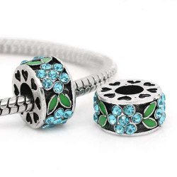 Métal Fleur strass turquoise et émail vert style Pandora - à l'unité