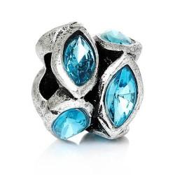 Métal anneau bicolore strass turquoise style Pandora - à l'unité