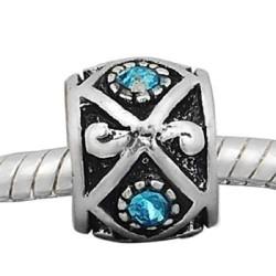 Métal Losange strass turquoise style Pandora - à l'unité