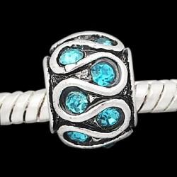Métal Serpent strass turquoise style Pandora - à l'unité