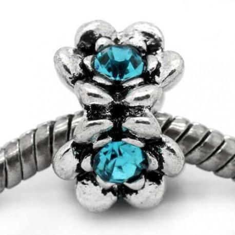 Métal Grand Anneau fleur strass turquoise style Pandora - à l'unité