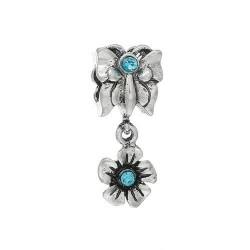 Métal Fleur et Papillon strass turquoise style Pandora - à l'unité