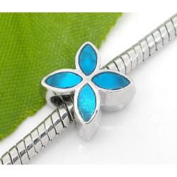 Métal Fleur émail turquoise style Pandora - à l'unité