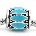 Métal Losange émail turquoise style Pandora - à l'unité