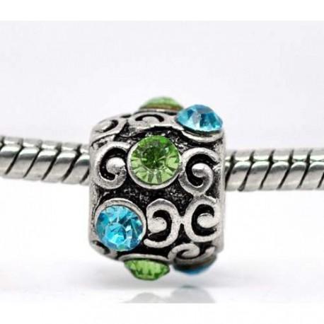 Métal Bouton strass vert et turquoise style Pandora - à l'unité