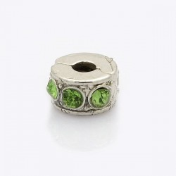 Métal perle bracelet pince strass vert style Pandora - à l'unité
