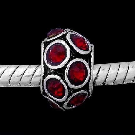 Métal Anneau biseauté strass rouge rubis style Pandora - à l'unité