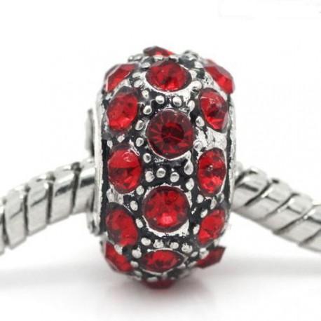Métal Shamballah strass rouge style Pandora - à l'unité