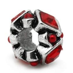 Métal Perle scupltée strass rouge style Pandora - à l'unité