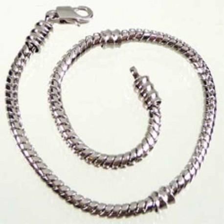 Bracelet style Pandora avec vis 20 cm argenté