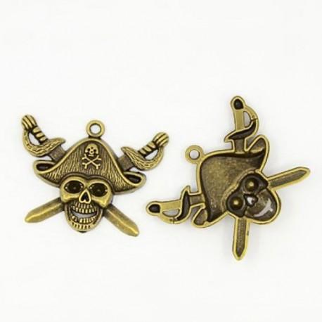 Pendentif breloque en métal Pirate, bronze antique