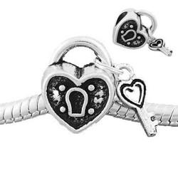 Métal argenté Coeur cadenas style Pandora - à l'unité