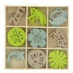 Assortiment 45 mini silhouettes feutrine Zen détail