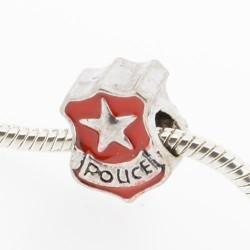 Métal Police insigne rouge style Pandora - à l'unité