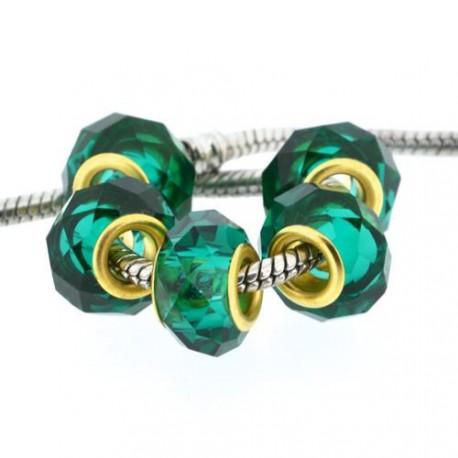 Perle de verre vert eau à facettes style Pandora - à l'unité
