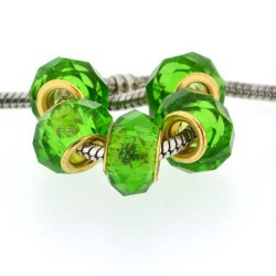 Perle de verre verte à facettes style Pandora - à l'unité
