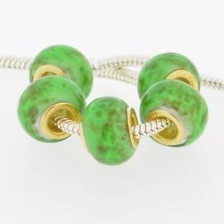Perle de verre verte mouchetée style Pandora - à l'unité