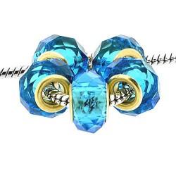 Perle de verre Turquoise à facettes style Pandora - à l'unité