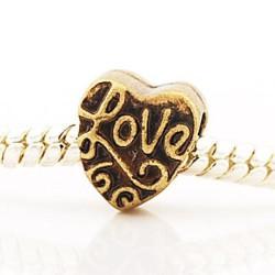 Métal Coeur Love style Pandora - à l'unité