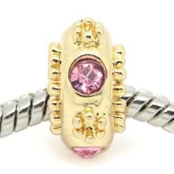 Métal perle ronde strass rose style Pandora, dorée - à l'unité