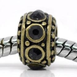 Métal Anneau rond strass noir style Pandora, bronze - à l'unité