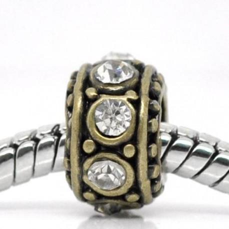 Métal Anneau rond strass blanc style Pandora, bronze - à l'unité
