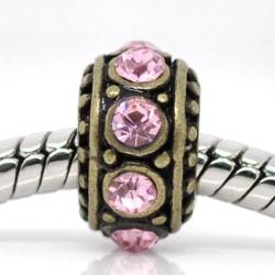 Métal Anneau rond strass rose style Pandora, bronze - à l'unité