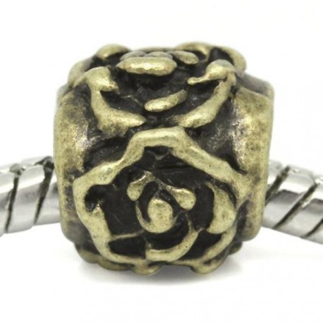 Métal Perle fleur style Pandora, bronze - à l'unité