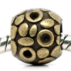 Métal Perle aux ronds style Pandora, bronze - à l'unité