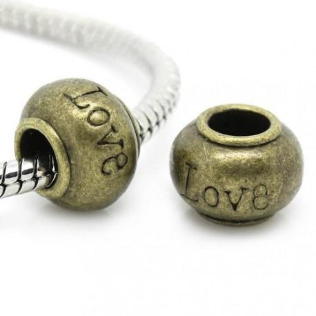 Métal Perle Love style Pandora, bronze - à l'unité