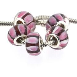 Perle de verre rouge avec bandes roses blanches style Pandora - à l'unité