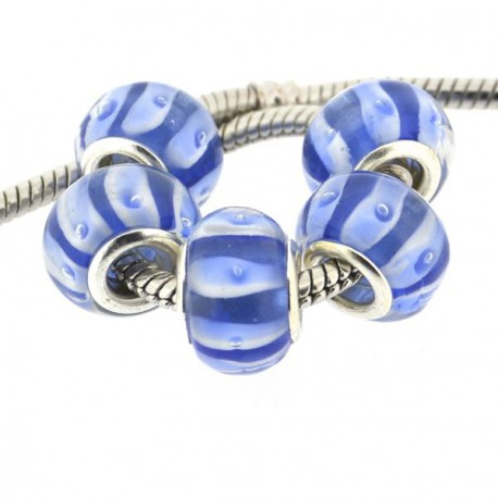 Perle de verre bleue avec bandes blanches style Pandora - à l'unité