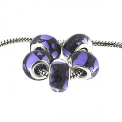 Perle en résine violette Love style Pandora - à l'unité