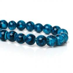 Perle de verre ronde turquoise striée noire, 8 mm