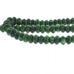 Perle de verre imitation malachite, ovale, 6 mm