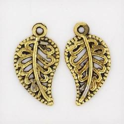Pendentif breloque en métal petite Feuille, dorée