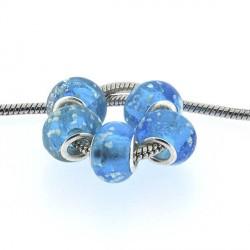 Perle de verre turquoise neigeux style Pandora - à l'unité