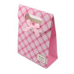 Sac cadeau cartonné Carreaux blancs et roses 16,5 x 12,5 cm