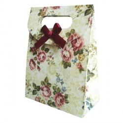 Sac cadeau cartonné grosses fleurs 16,5 x 12,5 cm