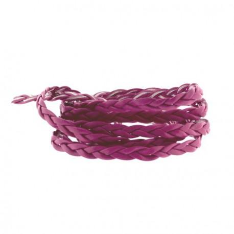 Cordon tressé plat simili cuir rose foncé, 5 mm ø - au mètre