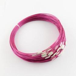 Collier métal couleur rose, 45 cm