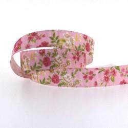 Ruban gros grain imprimé fleuri rose, 16 mm, au mètre