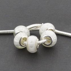 Perle de verre blanche avec bandes blanches style Pandora - à l'unité