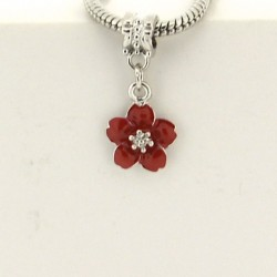 Métal pendentif Fleur émail rouge style Pandora - à l'unité