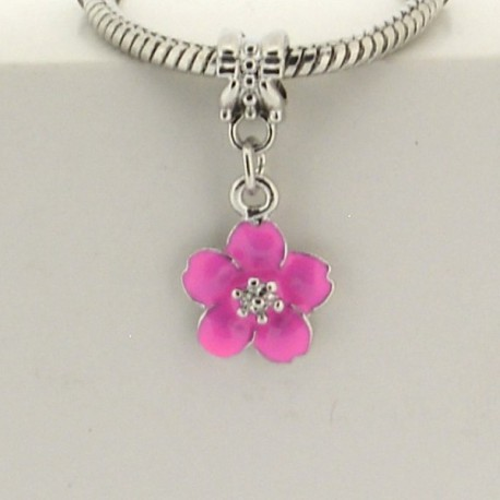 Métal pendentif Fleur émail rose style Pandora - à l'unité