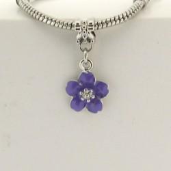 Métal pendentif Fleur émail mauve style Pandora - à l'unité